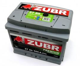Аккумулятор 6СТ-57 ZUBR Premium 500A,L