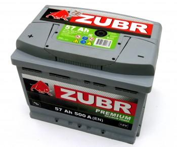 Аккумулятор 6СТ-57 ZUBR Premium 500A, L