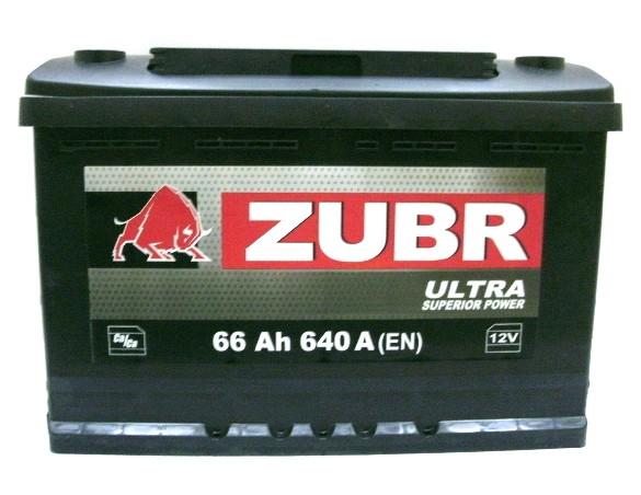 Аккумулятор 6СТ-66 ZUBR 640А, R