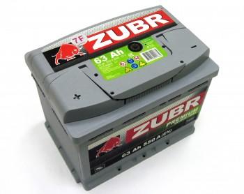 Аккумулятор 6СТ-63 ZUBR Premium 550A, L