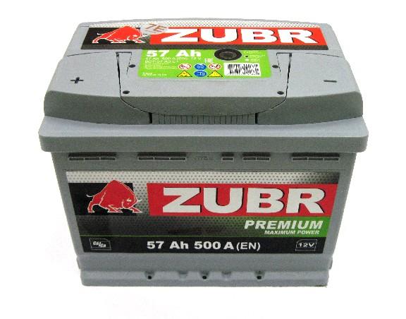 Аккумулятор 6СТ-57 ZUBR Premium 500A, R